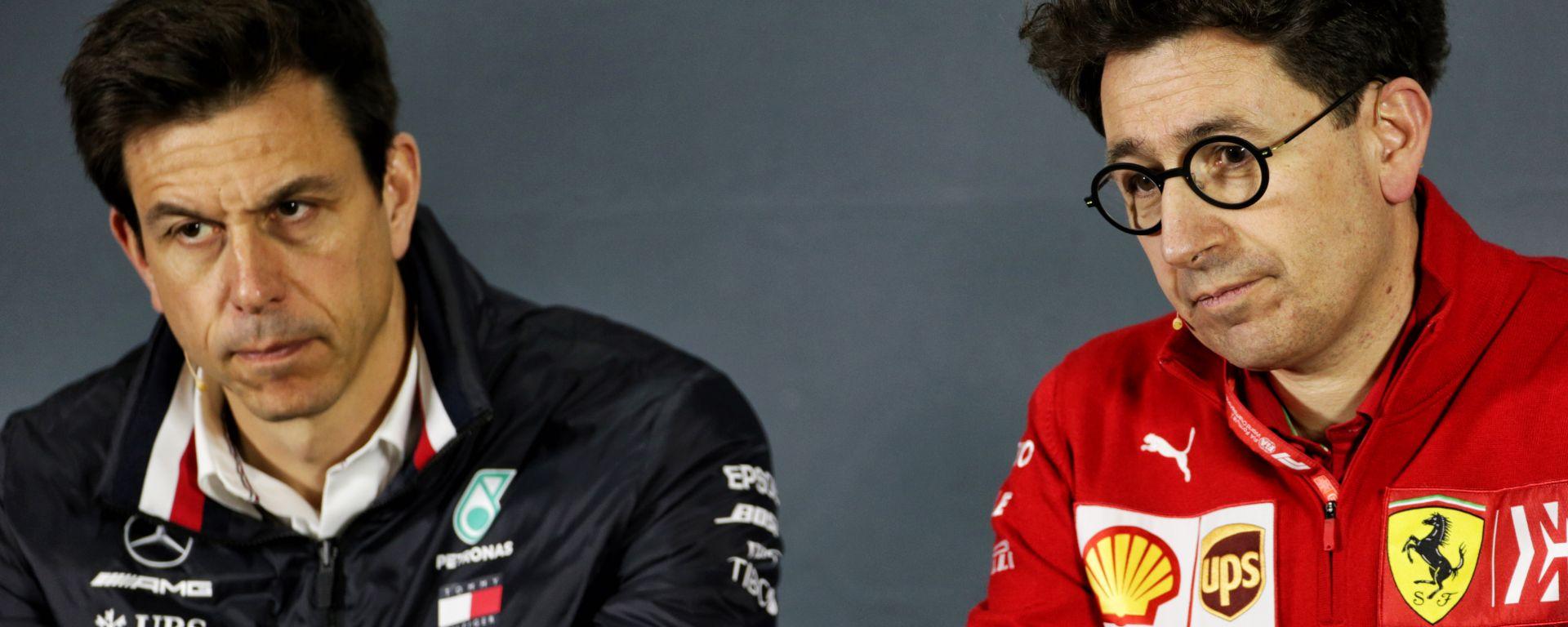 F1 2019: Toto Wolff (Mercedes) e Mattia Binotto (Ferrari)