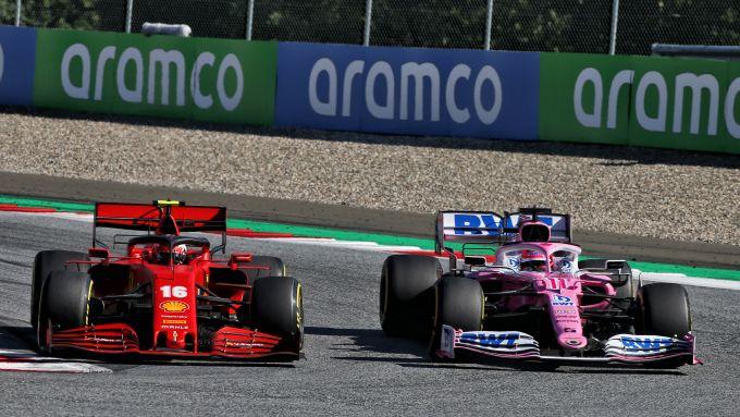 F1 2020: Charles Leclerc (Ferrari) e Sergio Perez (Racing Point)