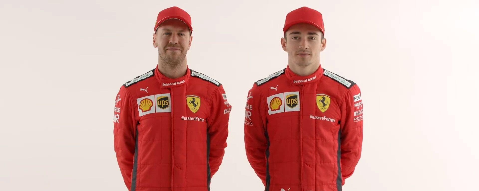 Ferrari: ecco le nuove tute di Vettel e Leclerc