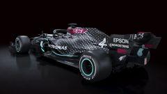 F1 2020, la Mercedes W11 vista da 3/4 posteriore