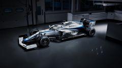 F1 2020, la nuova livrea della Williams FW43 (vista 3/4 anteriore)