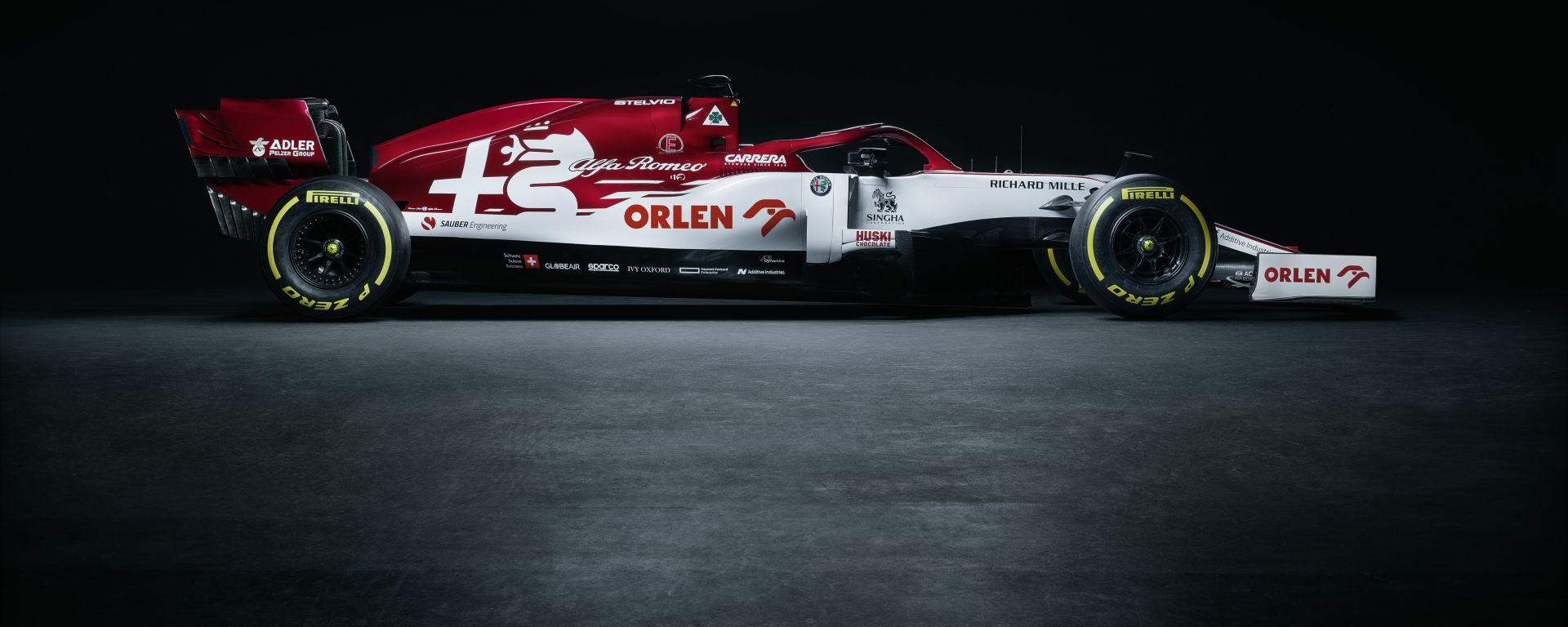 F1 2020, l'Alfa Romeo Racing C39 di Kimi Raikkonen e Antonio Giovinazzi
