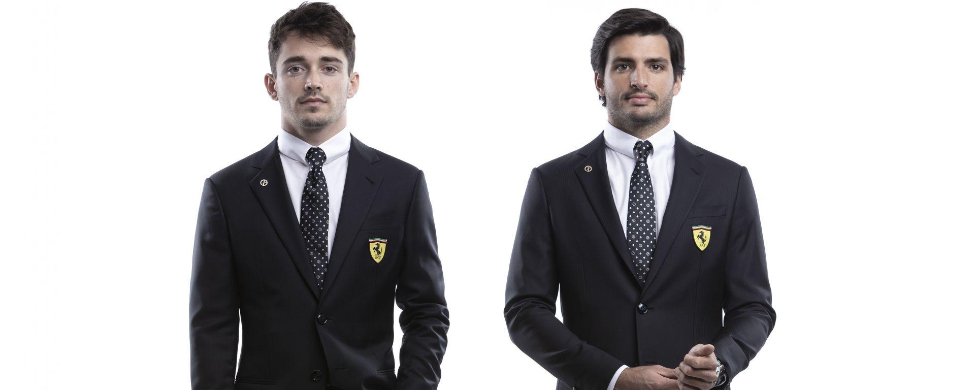 F1 2021: Charles Leclerc e Carlos Sainz (Ferrari) in completo Armani