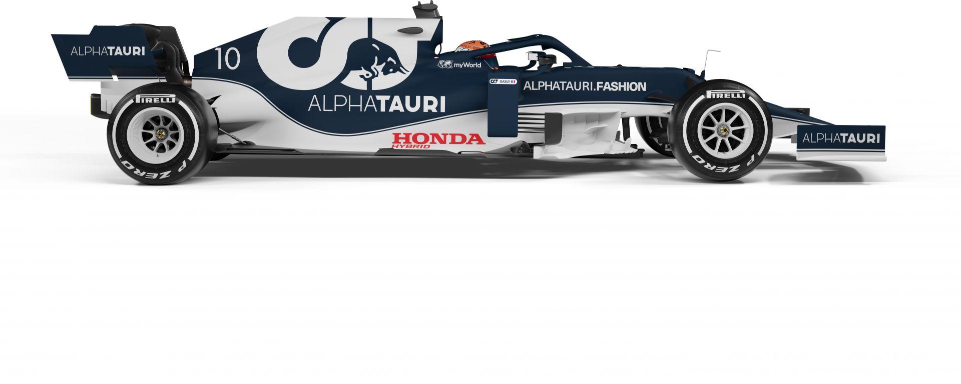 F1 2021, la Scuderia AlphaTauri AT02 (vista laterale)