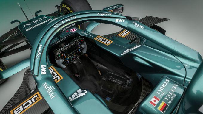 F1 2021, le immagini da studio dell'Aston Martin AMR21: dettaglio dell'abitacolo