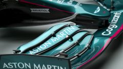 F1 2021, le immagini da studio dell'Aston Martin AMR21: dettaglio dell'ala anteriore