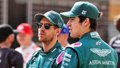 F1 2021, Sebastian Vettel e Lance Stroll (Aston Martin Racing) nelle foto di rito di inizio stagione
