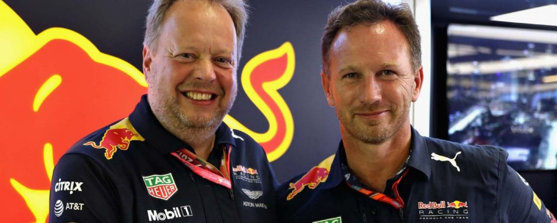 F1: Andy Palmer (Aston Martin) con Chris Horner (Red Bull)