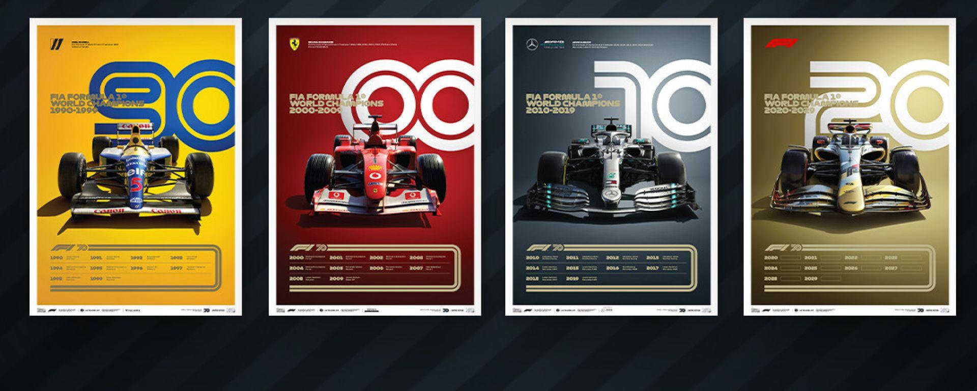 La Formula 1 celebra i 70 anni con 8 poster esclusivi