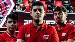 F1 eSport Series 2019, i piloti Ferrari Driver Academy: da sinistra, Gianfranco Giglioli, David Tonizza e Amos Laurito