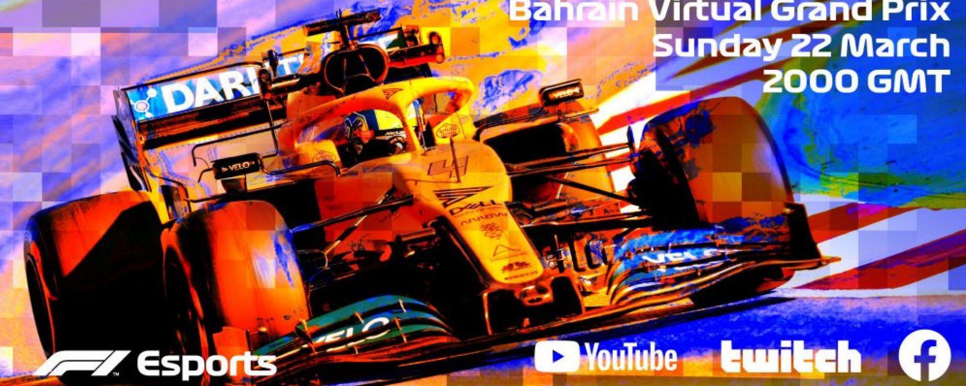F1 Esports, la locandina dell'evento virtuale dedicato al Gp del Bahrain 2020