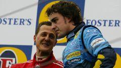 F1, Fernando Alonso (Renault) e Michael Schuamacher (Ferrari) sul podio del GP San Marino 2005