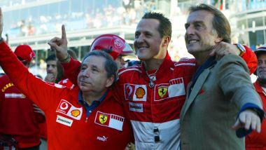 F1 Finali mondiali Ferrari 2006: Luca Cordero di Montezemolo con Michael Schumacher e Jean Todt