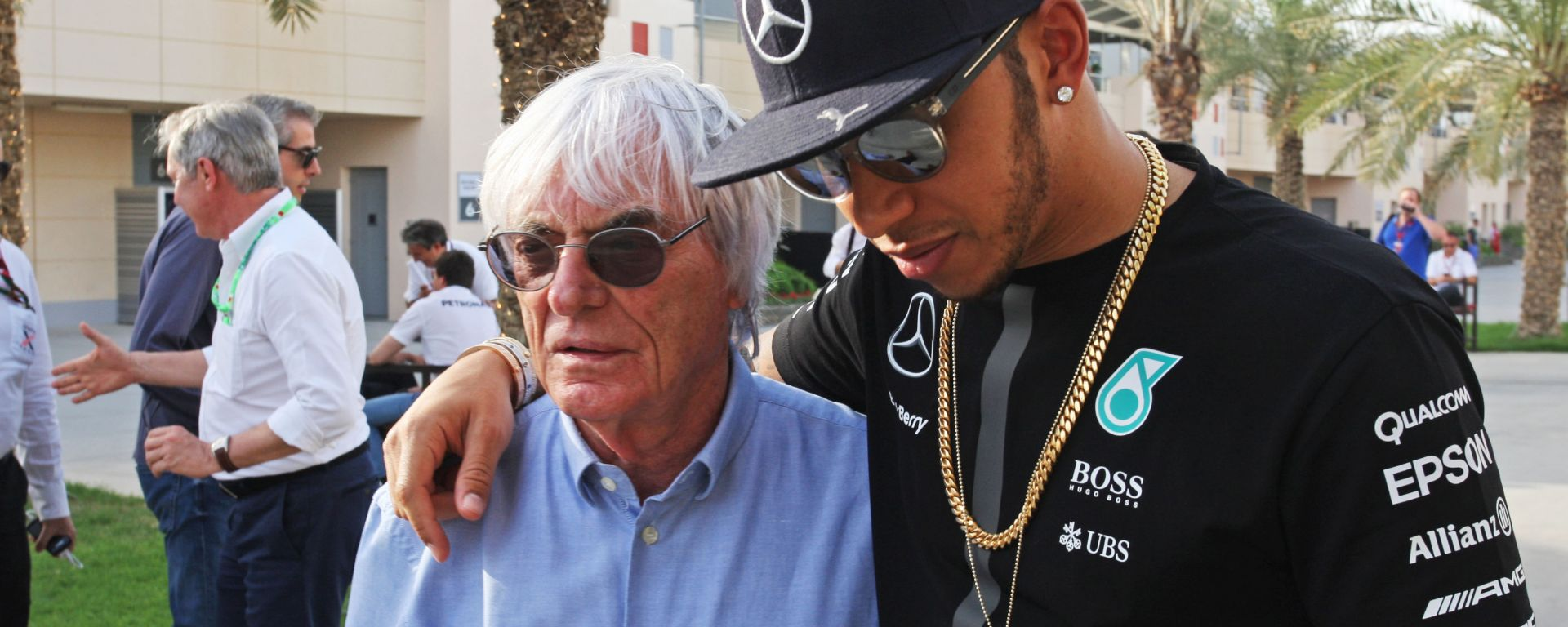 F1, GP Abu Dhabi 2015: Bernie Ecclestone e Lewis Hamilton (Mercedes)