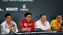 F1, GP Abu Dhabi 2019: Toto Wolff (Mercedes) Mattia Binotto (Ferrari), Zak Brown (McLaren) e Cyril Abiteboul (Renault)