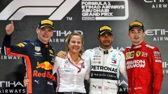 F1 GP Abu Dhabi 2019, Yas Marina: Charles Leclerc (Ferrari), Max Verstappen (Red Bull). Lewis Hamilton (Mercedes)