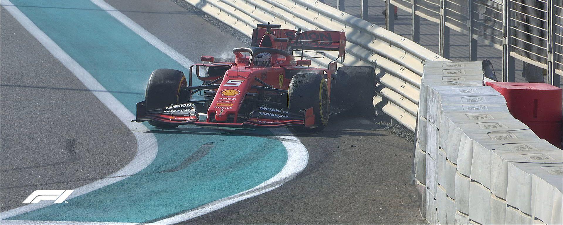 F1 GP Abu Dhabi 2019, Yas Marina: l'incidente di Sebastian Vettel (Ferrari) a fine PL1