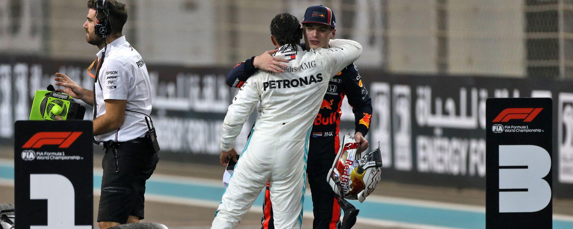 F1 GP Abu Dhabi 2019, Yas Marina: Max Verstappen (Red Bull) e Lewis Hamilton (Mercedes)