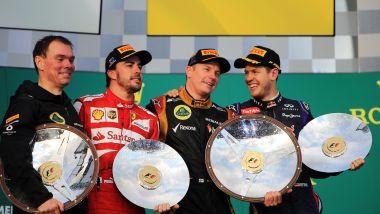 F1, GP Australia 2013: Fernando Alonso (Ferrari), Kimi Raikkonen (Lotus) e Sebastian Vettel (Red Bull)