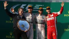 F1, GP Australia 2015: il podio con Nico Rosberg, Lewis Hamilton e Sebastian Vettel