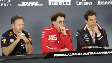 F1 GP Australia 2019, Melbourne: Christian Horner (Red Bull), Mattia Binotto (Ferrari), Toto Wolff (Mercedes)