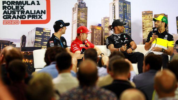 F1 GP Australia 2020, Melbourne: Sebastian Vettel (Ferrari), Lewis Hamilton (Mercedes), Daniel Ricciardo (Renault), Nicholas Lat