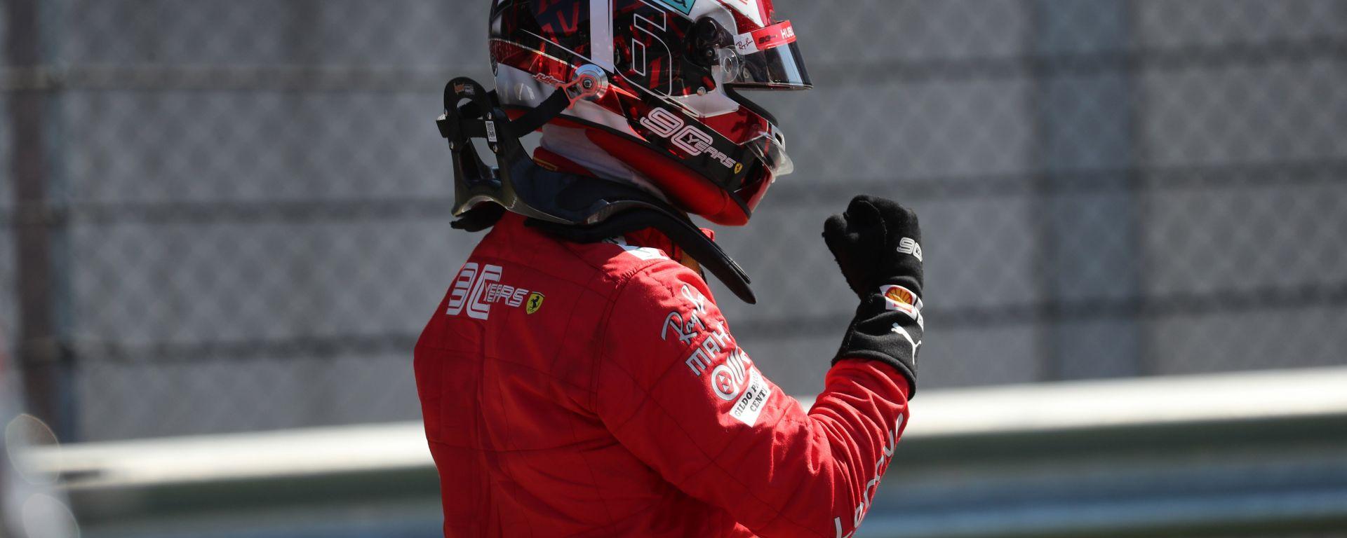 F1 GP Austria 2019, Charles Leclerc esulta dopo aver centrato la pole position