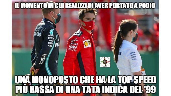 F1, GP Austria 2020: Charles Leclerc sul podio si rende conto di cose