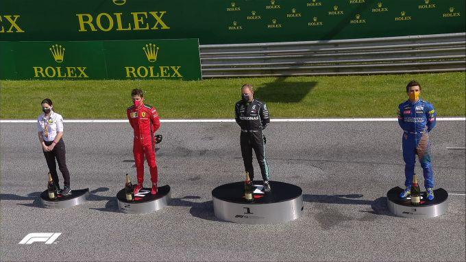 F1, GP Austria 2020: il podio con Valtteri Bottas (Mercedes) Charles Leclerc (Ferrari) e Lando Norris (McLaren)