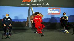 F1, GP Austria 2020: Mattia Binotto (Ferrari) in conferenza stampa con Franz Tost (Toro Rosso) e Cyril Abiteboul (Renault)