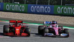 F1 GP Austria 2020, Red Bull Ring: Charles Leclerc (Ferrari) in lotta con Sergio Perez (Racing Point)