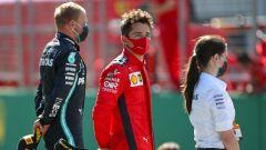 F1 GP Austria 2020, Red Bull Ring: Charles Leclerc sul podio a fianco di Valtteri Bottas