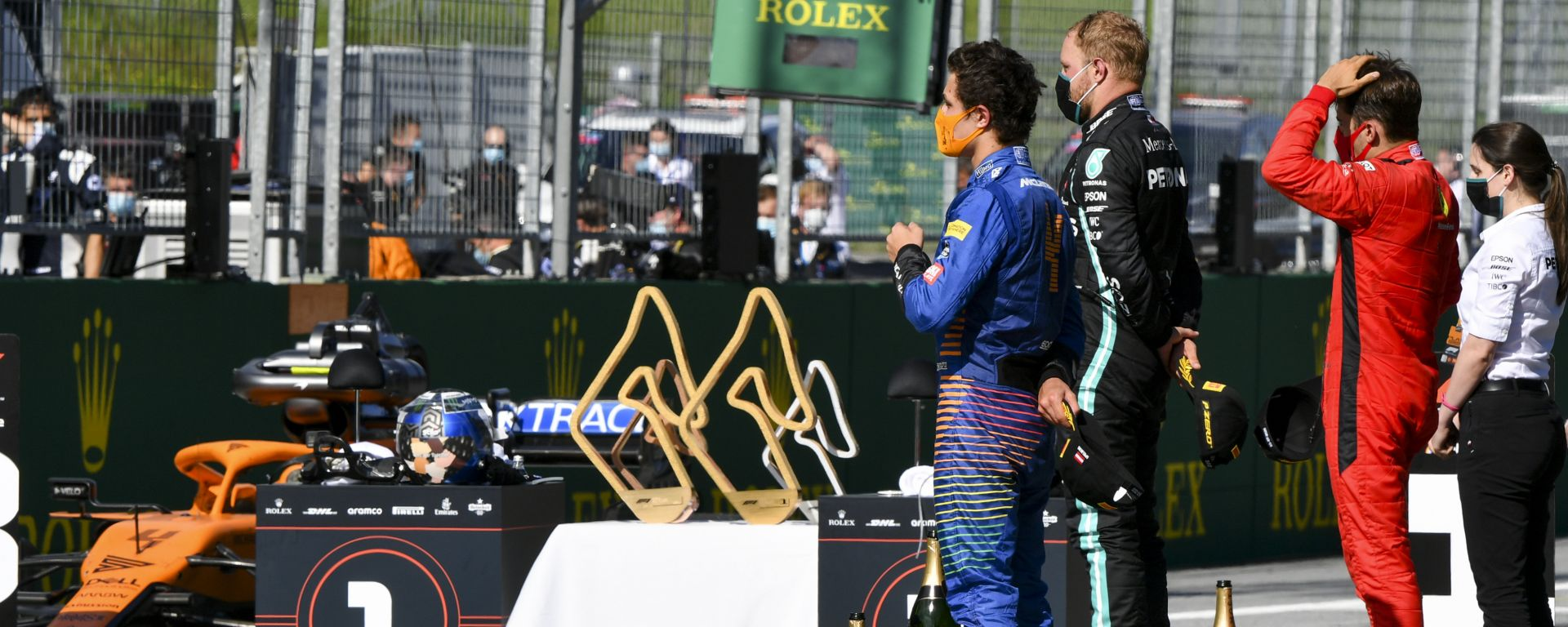 F1 GP Austria 2020, Red Bull Ring: il podio con Bottas (Mercedes), Leclerc (Ferrari) e Norris (McLaren)