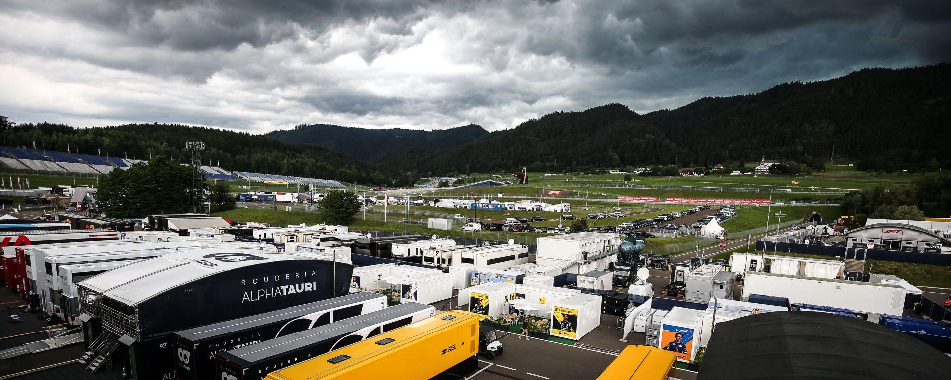 F1 GP Austria 2020, Red Bull Ring: nuvole minacciose sopra il paddock
