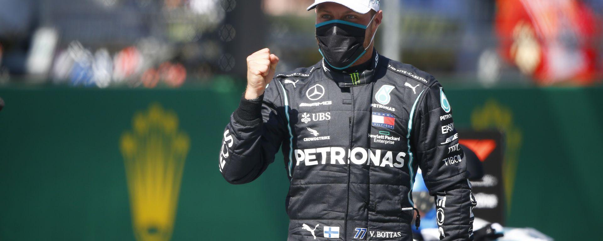 F1 GP Austria 2020, Red Bull Ring: Valtteri Bottas (Mercedes) esulta dopo la pole