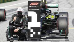 F1 GP Austria 2020, Red Bull Ring: Valtteri Bottas (Mercedes) festeggia la pole position