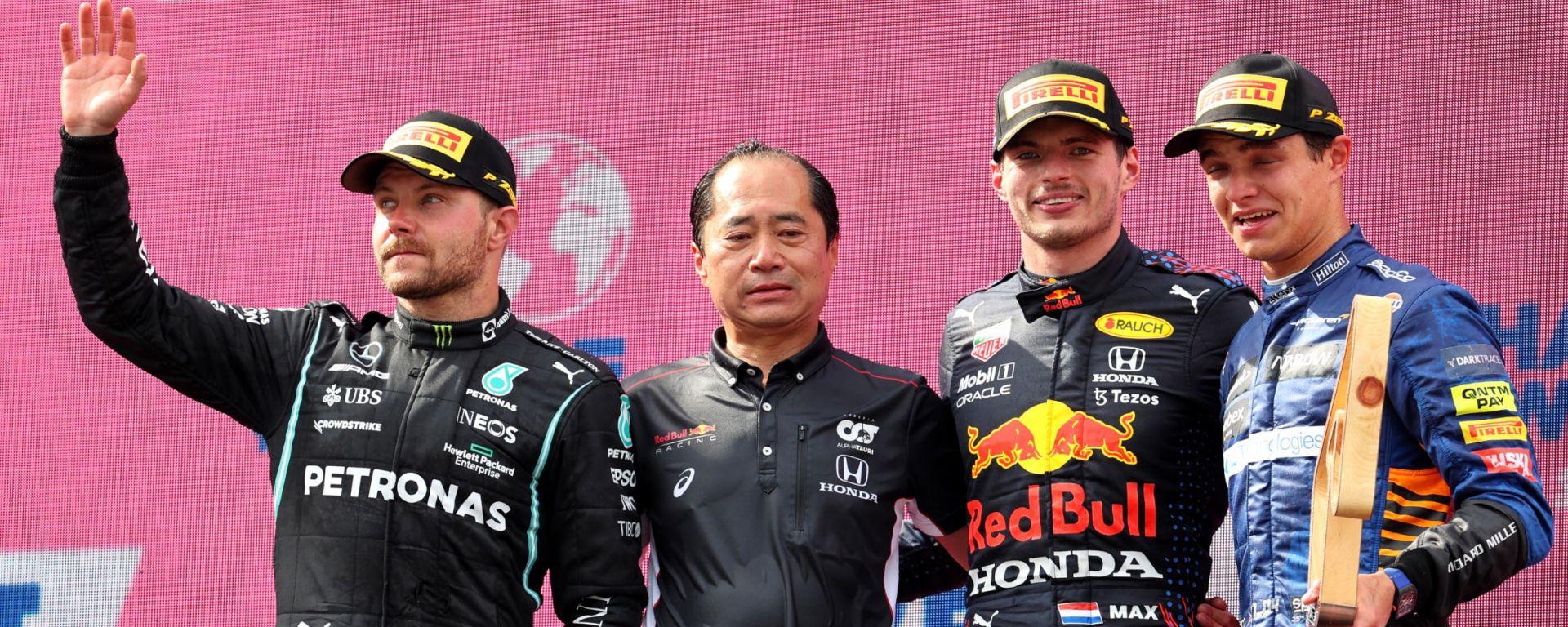 F1, GP Austria 2021: il podio con Valtteri Bottas, Max Verstappen e Lando Norris