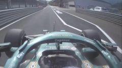 F1 GP Austria 2021, Spielberg: Lance Stroll (Aston Martin) infrange il limite di velocità in corsia box