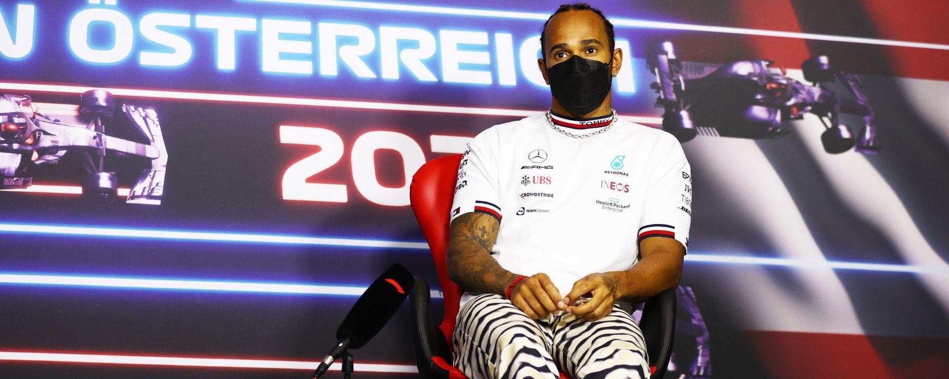 F1 GP Austria 2021, Spielberg: Lewis Hamilton (Mercedes) in conferenza stampa