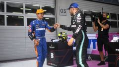 F1 GP Austria 2021, Spielberg: Valtteri Bottas (Mercedes) e Lando Norris (McLaren)