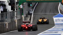 F1 GP Austria - Sebastian Vettel con la sua Ferrari in uscita dalla Pit Lane