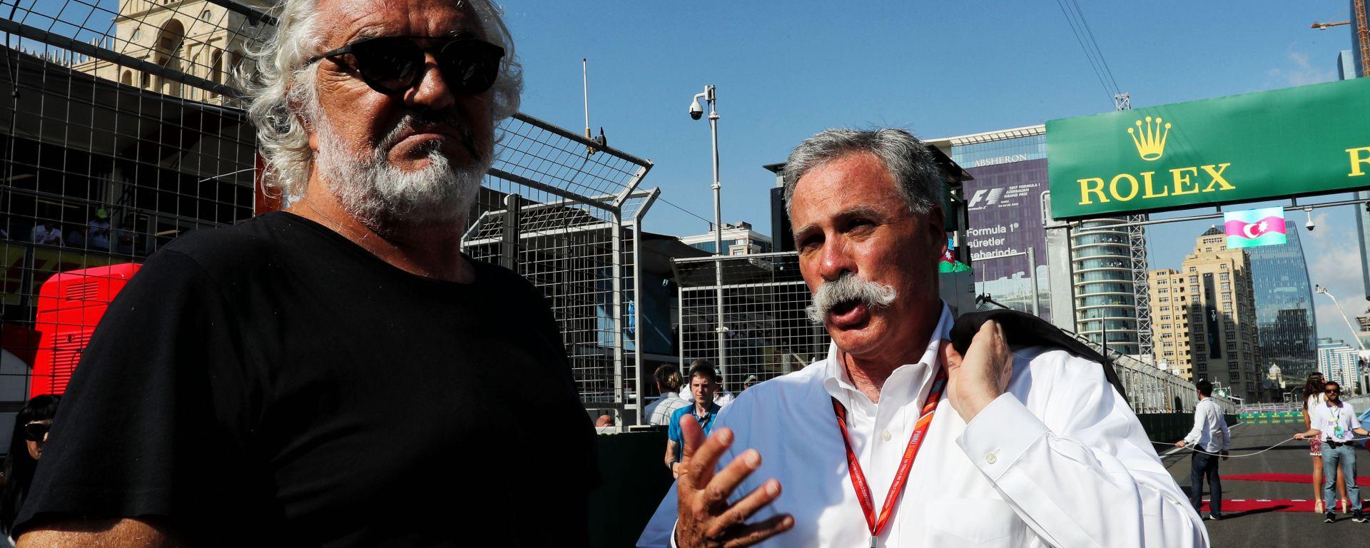 F1 GP Azerbaijan 2017, Baku: Flavio Briatore con Chase Carey (Liberty Media)