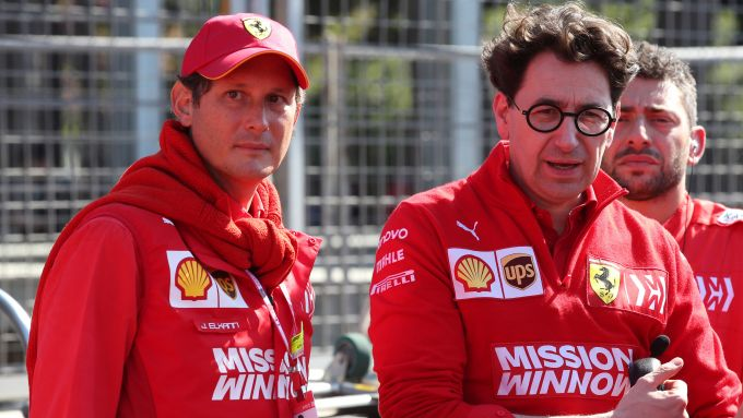 F1 GP Azerbaijan 2019, Baku: John Elkann e Mattia Binotto (Ferrari)