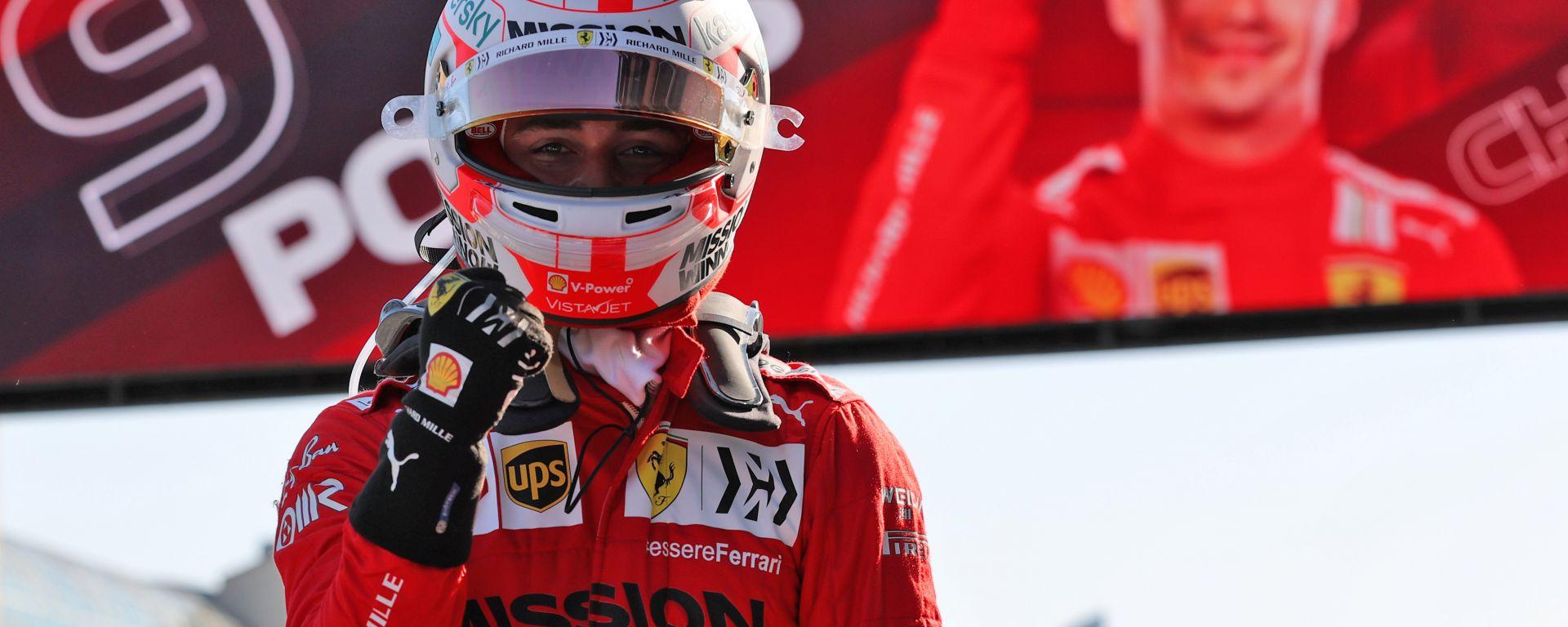 F1 GP Azerbaijan 2021, Baku: Charles Leclerc (Scuderia Ferrari) esulta per la nona pole in carriera