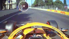 F1 GP Azerbaijan 2021, Baku: Lando Norris (McLaren) non entra in pit-lane nonostante la bandiera rossa