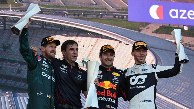 F1 GP Azerbaijan 2021, Baku: podio inedito con Perez (Red Bull) Vettel (Aston Martin) e Gasly (AlphaTauri)