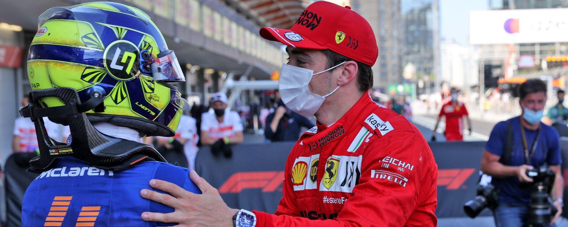 F1, GP Azerbaijan 2021: Charles Leclerc (Ferrari) e Lando Norris (McLaren) al termine delle qualifiche