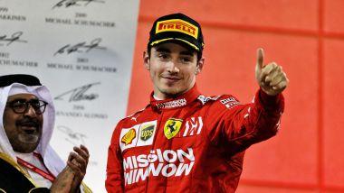 F1 GP Bahrain 2019, Sakhir: Charles Leclerc (Ferrari) sul podio