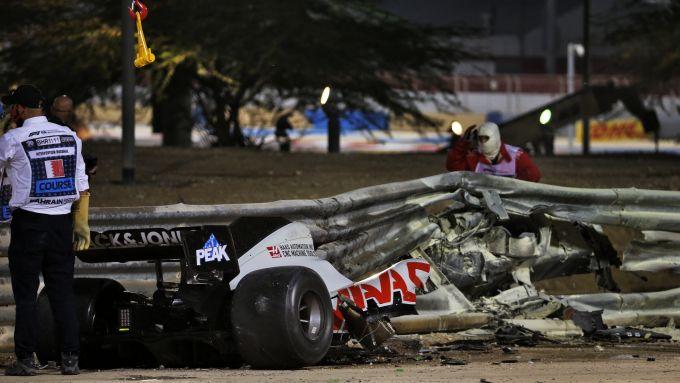F1 GP Bahrain 2020, Sakhir: l'auto incidentata di Romain Grosjean (Haas)