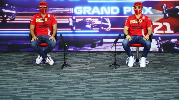 F1 GP Bahrain 2021, Sakhir: Charles Leclerc e Carlos Sainz (Scuderia Ferrari) in conferenza stampa